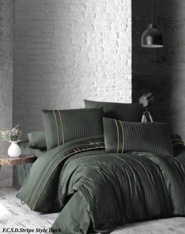 "Постельное белье ""Stripe Style Dark Green"" Satin Deluxe :: First Choice"