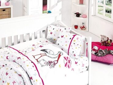 """Детский постельный набор в кроватку """"Stork Pink"""" Bamboo :: First Choice"""
